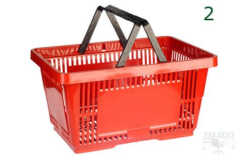 Cesta de asas roja para supermercados