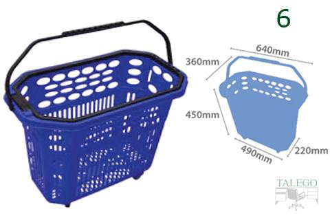 Cesta de compras con ruedas azul indicandose sus medidas