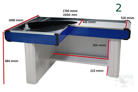Foto de mostrador de caja Co en L con medidas