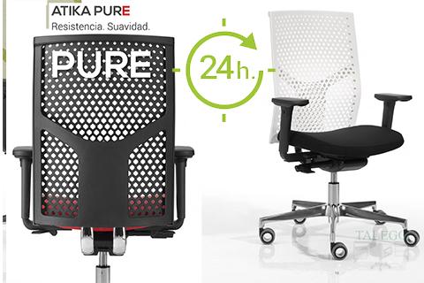 Silla con asiento tapizado y respaldo rejilla en silla do atika