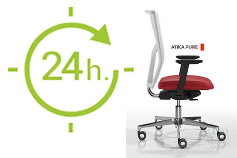 Vista lateral de silla do atika apta para uso intensivo