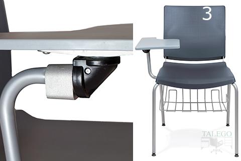 Vista detalle unión pala fenolica a brazo de silla atenea