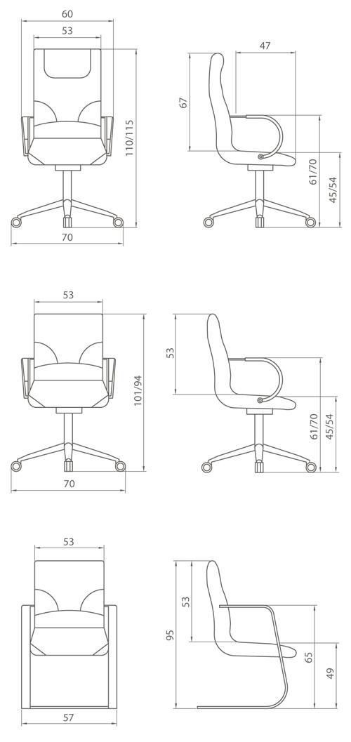 Medidas de sillón de dirección do boss
