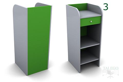 Mueble de caja en dm verde y blanco