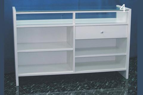 Mostrador em modelo 3 en blanco con encimera de cristal