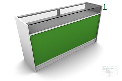 Mostrador de tienda em modelo 3 en blanco y frente verde