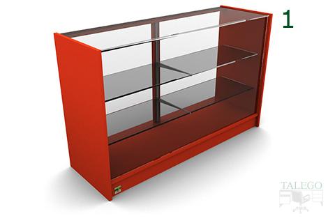 Vista interior de mostrador em mod4 en rojo con estantes y encimera de cristal