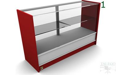 Vista frontal de mostrador em modelo 5 en blanco y rojo