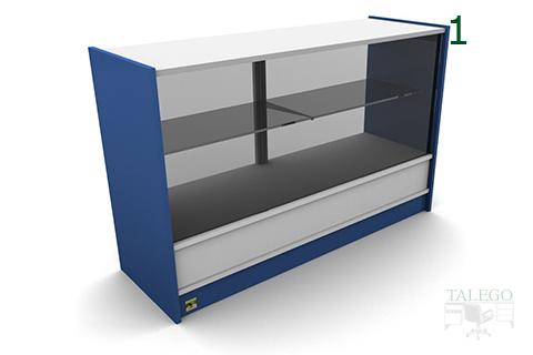Frontal mostrador em mod6 con encimera de madera