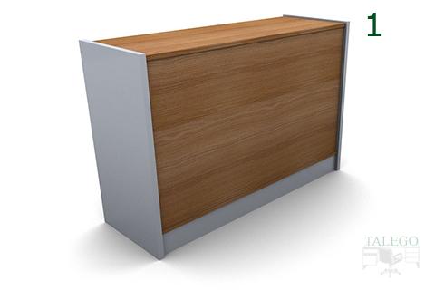 vista frontal de mostrador en madera em modelo 2