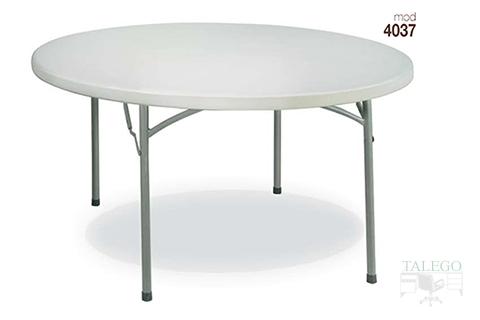 Mesa plegable redonda en pvc blanco