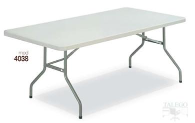 Mesa plegable rectangular en poliuretano blanco