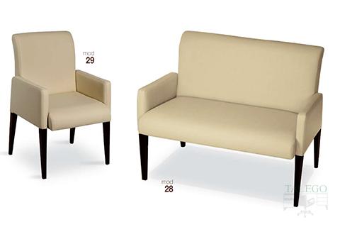 Sofas modelo gh 28 y 29 tapizados en tejido beige