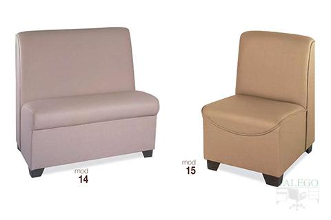 Sofas de una y dos plazas modelo 14 y 15 en diferentes tejidos