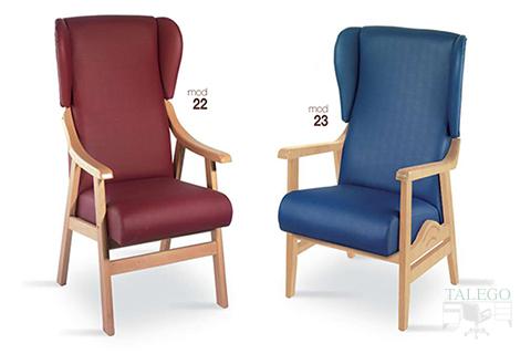 Soffas para geriatricos modelo gh 22 y 23 tapizados en azul y granate