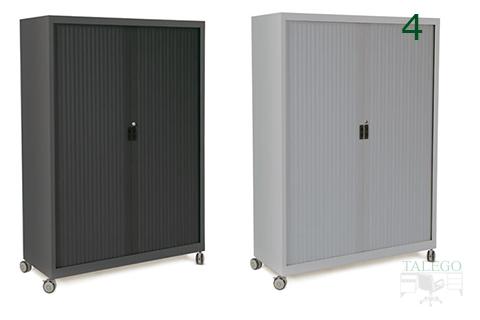 Ejemplos de armario de persiana con ruedas en negro o gris