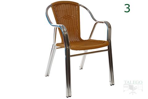 silla de aluminio con rafia marron para terrazas