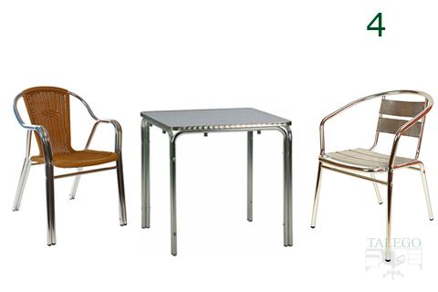 Conjunto de mesa y sillas de aluminio para terrazas de exterior
