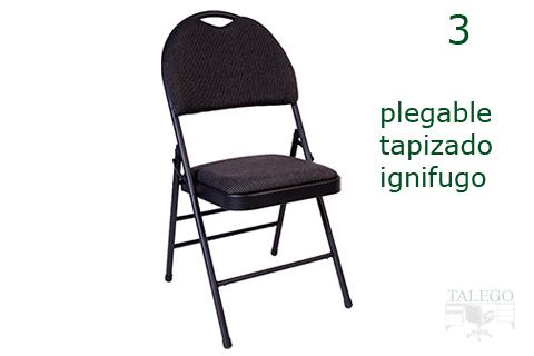 silla plegable estructura y tapizado negro modelo dalita