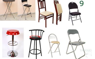 Foto con diversos modelos de sillas plegables y mesas hi