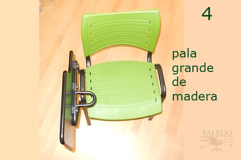 silla de pala acuario con pala grande de madera abatida