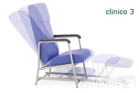 Vista de sillon multiposicion con respaldo inclinado