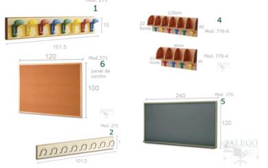 Foto muestra de accesorios para mobiliario escolar