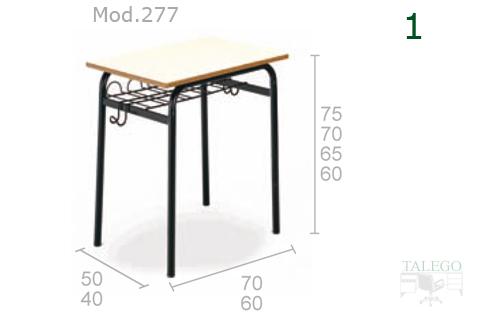 Mesa escolar modelo 277 en beige con rejilla y diferentes medidas