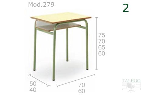 Mesa escolar modelo 279 con difrentes medidas segun edades