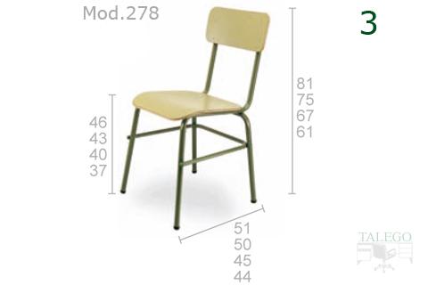 Silla de escuela modelo 278 en madera indicandose las diferentes medidas