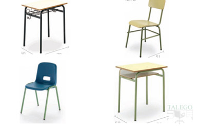 foto representativa de mesas y sillas escolares