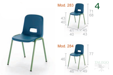 Sillas modelo 283 y 284 en polietileno azul con medidas