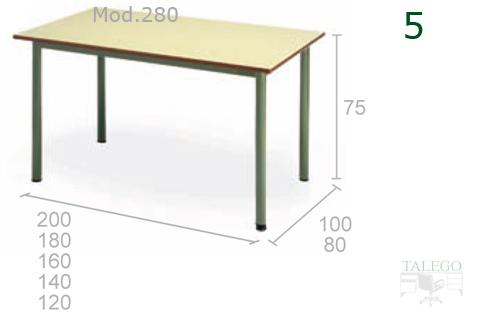 Mesa Rectangular modelo 280 tablero verde estructura verde