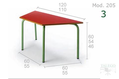 Mesa con forma trapezoidal con tablero rojo y estructura verde