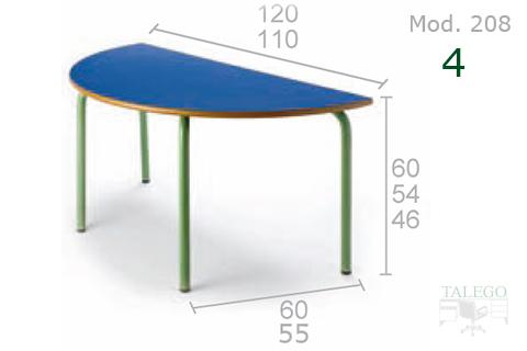 Mesa semicircular con tablero azul y estructura verde