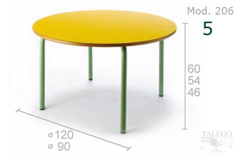 Mesa Redonda tablero amarillo y estructura verde