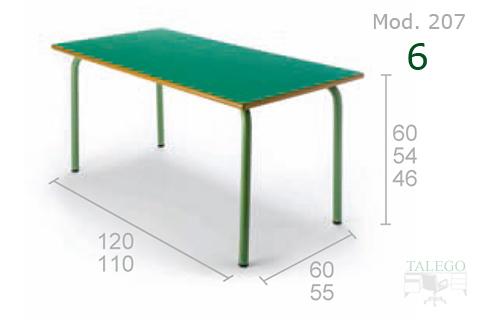 Mesa Rectangular con tablero y estructura verde