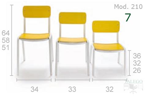 Sillas del modelo me 210 en amarillo con diferentes alturas