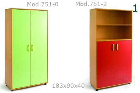 Armario de madera modelo 751 con las puertas en verde y rojo