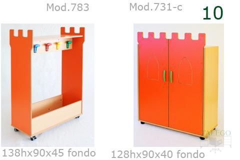 Muebles auxiliares con puertas en naranja para escuela