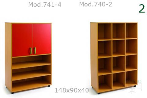Armarios modelo me 741 y 740 en haya con puertas en rojo