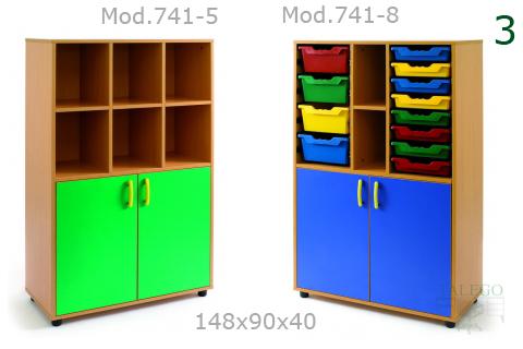 Armarios de escuela con puertas modelos 741 en verde y azul