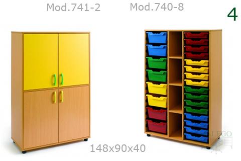 Armarios para escuela en haya con puertas en amarillo modelo me 740 y 741