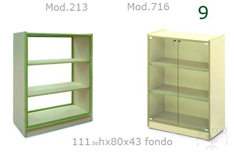 Armario todo estantes y vitrina modelos me 213 y 716 para coloegio