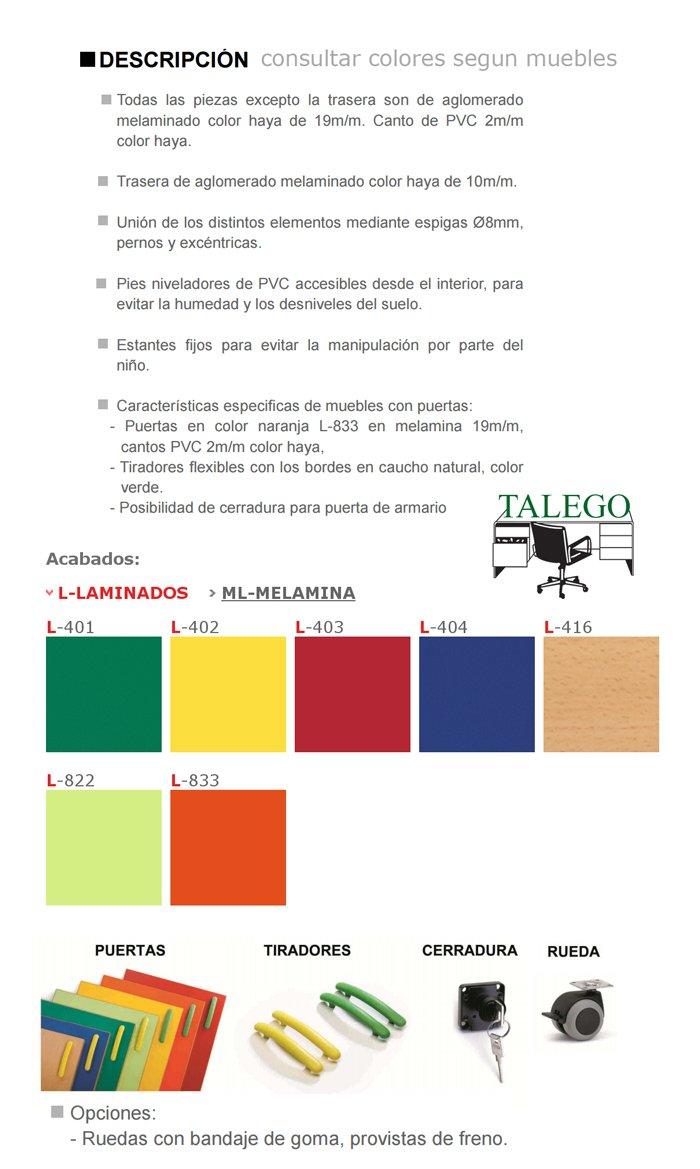 Caracteristicas y colores disponibeles para armarios escolares me