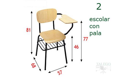 Medidas para las sillas de pala me escolar en madera