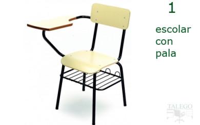 silla de pala me escolar en madera con rejilla portalibros inferior