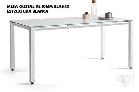 Mesa de cristal blanco vital