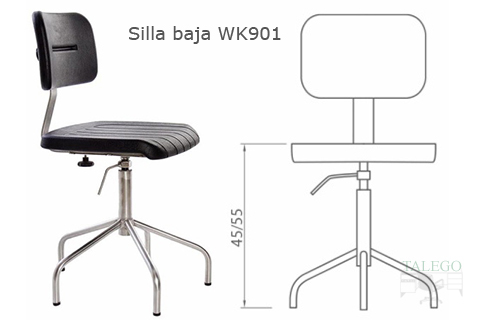 Silla giratoria industrial en acero inoxidable