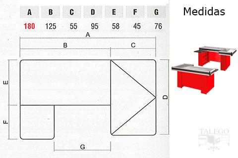 mostrador caja de supermercado medidas en L
